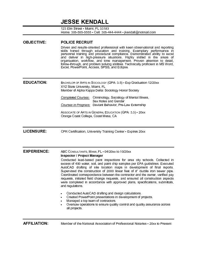 police officer resume sample objectivecareer template career objective examples samples Resume Police Resume Objective Samples