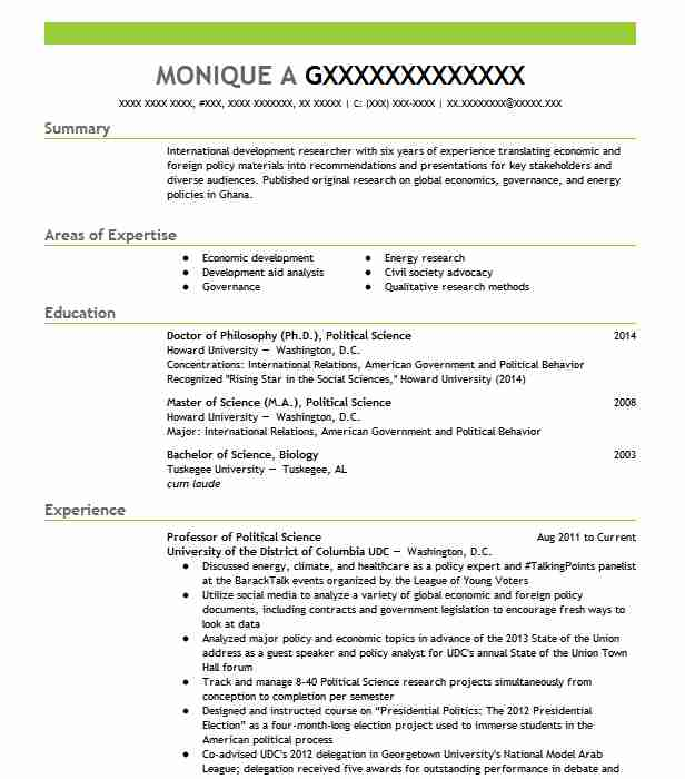 political science professor resume example land college oak objective examples format Resume Political Science Resume Objective Examples