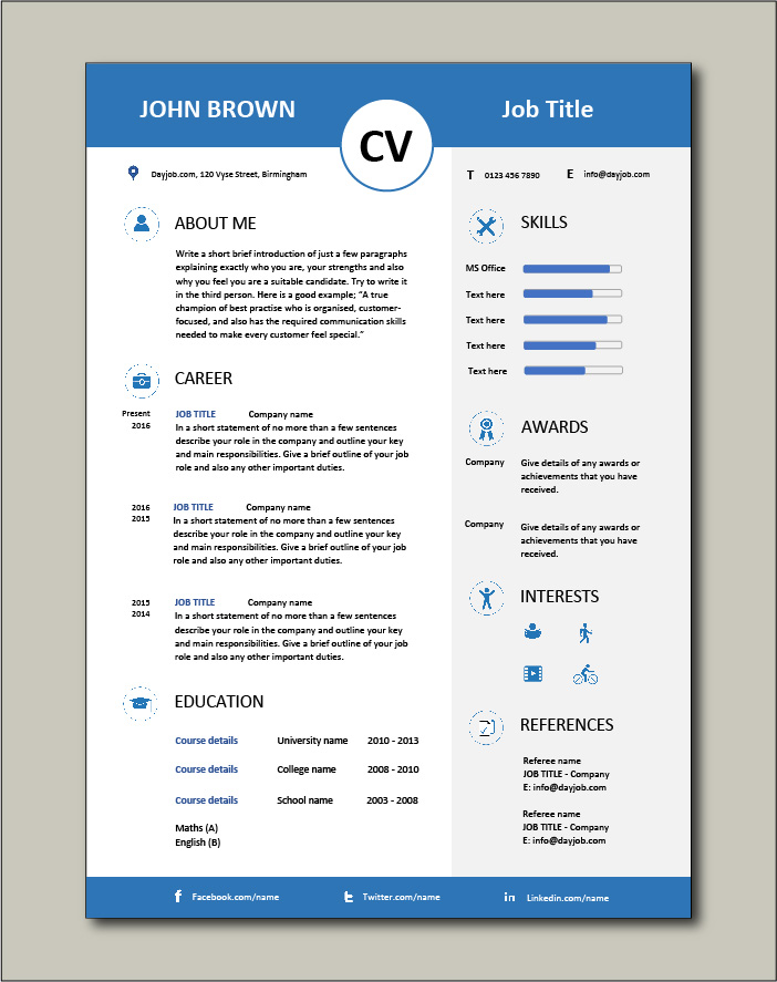 premium cv template visually attractive resume appealing from dayjob executive bookkeeper Resume Visually Attractive Resume