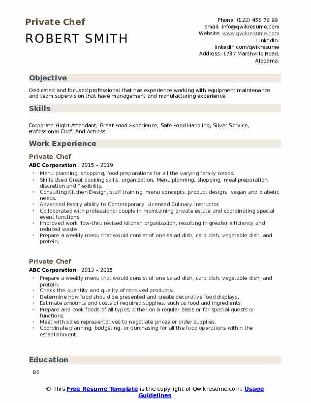 private chef resume samples qwikresume personal objective pdf best short telecom customer Resume Personal Chef Resume Objective