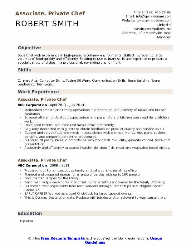 private chef resume samples qwikresume personal objective pdf internal examples best Resume Personal Chef Resume Objective