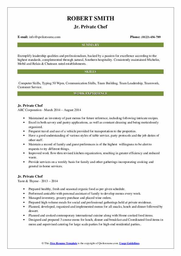 private chef resume samples qwikresume personal objective pdf skills can put on telecom Resume Personal Chef Resume Objective