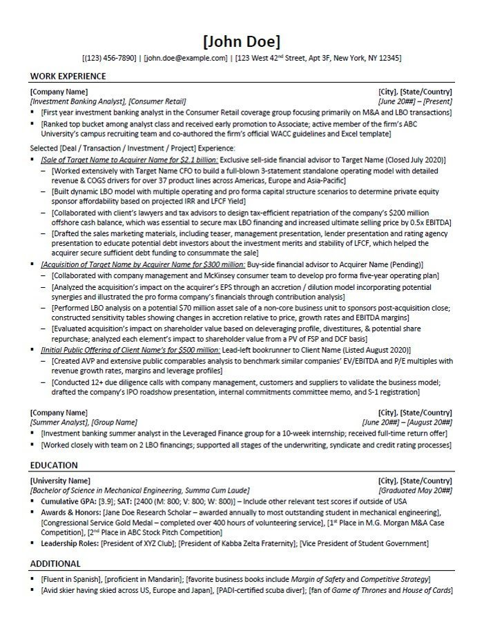 private equity resume template and example 10x ebitda merger acquisition patient service Resume Merger And Acquisition Resume