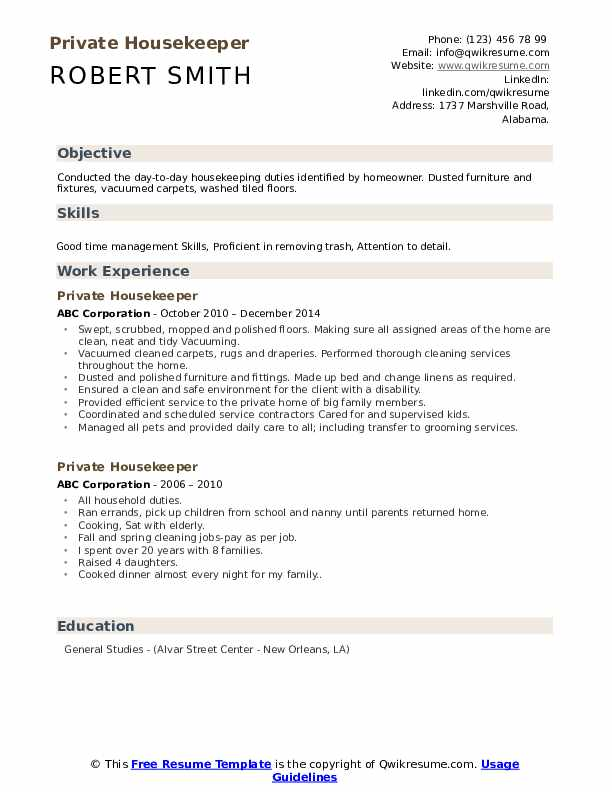 private housekeeper resume samples qwikresume pdf chicago booth template personal care Resume Private Housekeeper Resume
