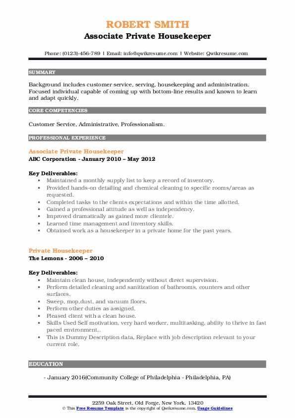 private housekeeper resume samples qwikresume pdf chicago booth template skills for Resume Private Housekeeper Resume