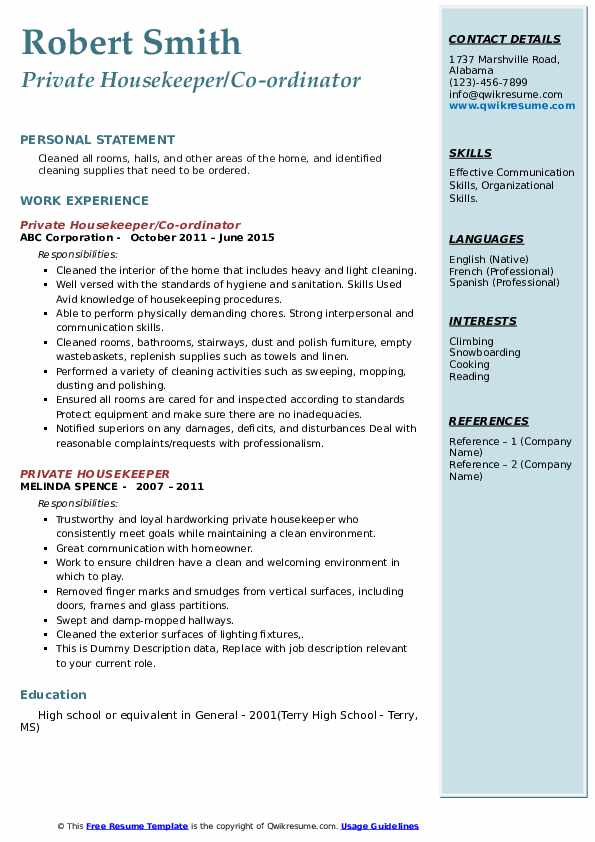 private housekeeper resume samples qwikresume pdf industrial psychology objectives clear Resume Private Housekeeper Resume
