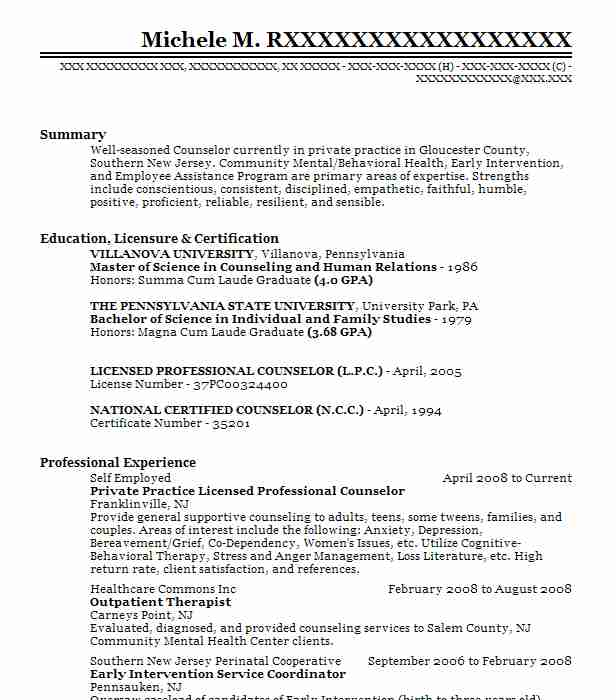 private practice licensed mental health counselor resume example maria gabriela cotter Resume Licensed Professional Counselor Resume