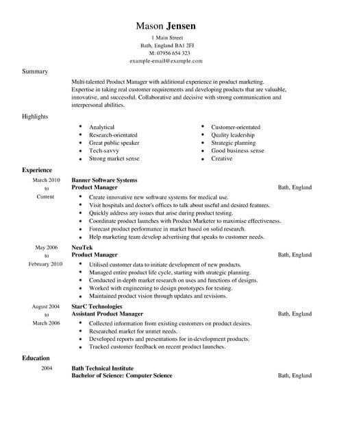 product manager cv template samples examples resume highlights sample marketing full Resume Resume Highlights Sample