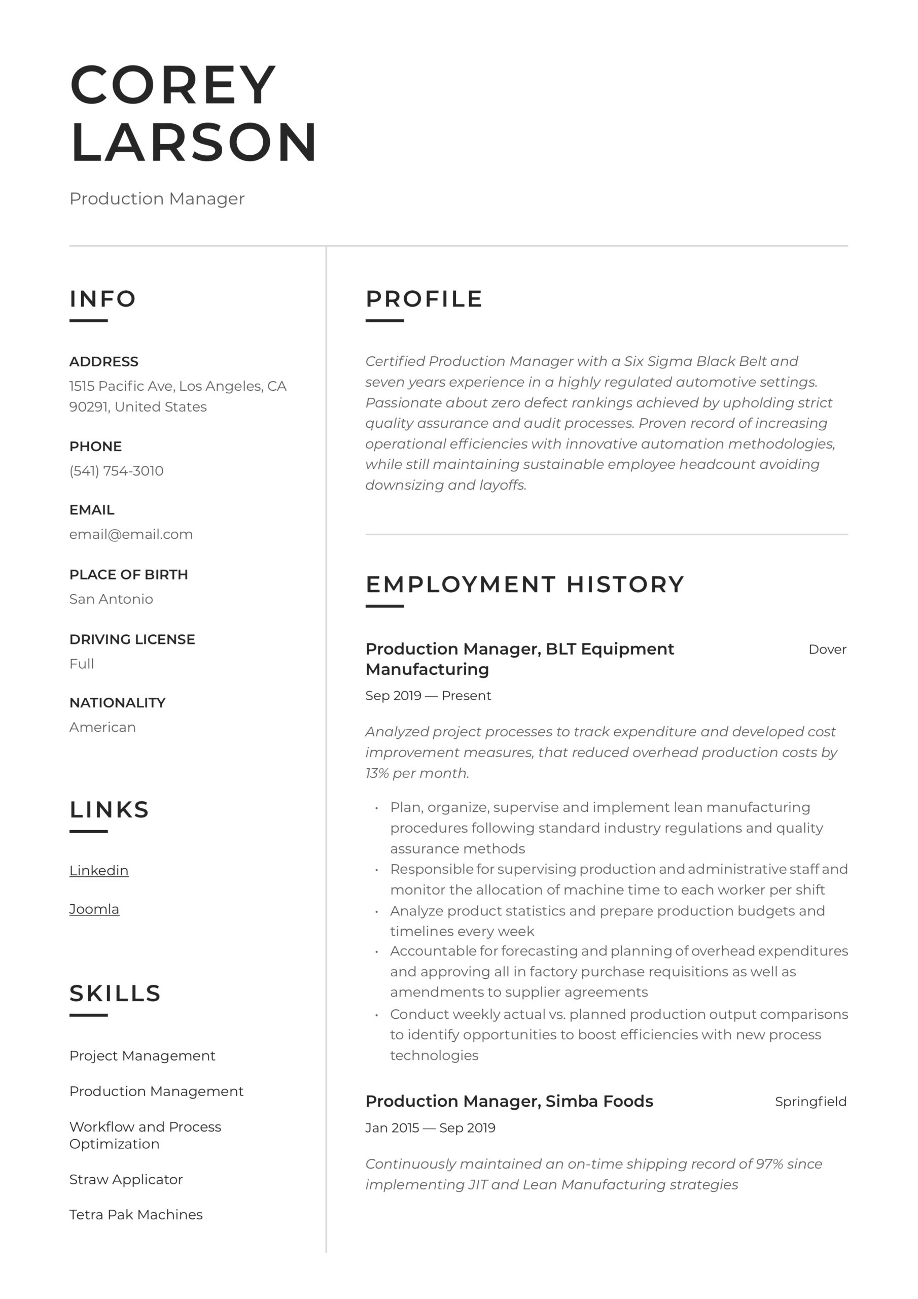 production manager resume writing guide templates sample facility engineer auto Resume R&d Manager Resume Sample