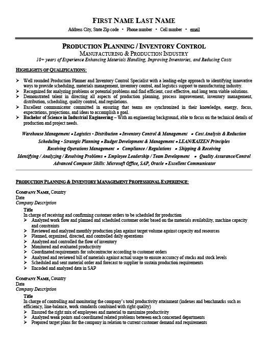 production planner or inventory controller resume template premium samples example Resume Production Planner Resume