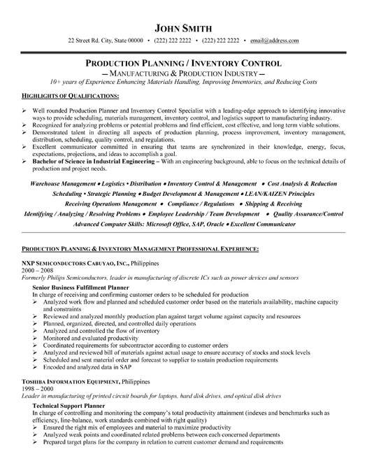 production planner resume sample template pc professional inventory controller certified Resume Production Planner Resume