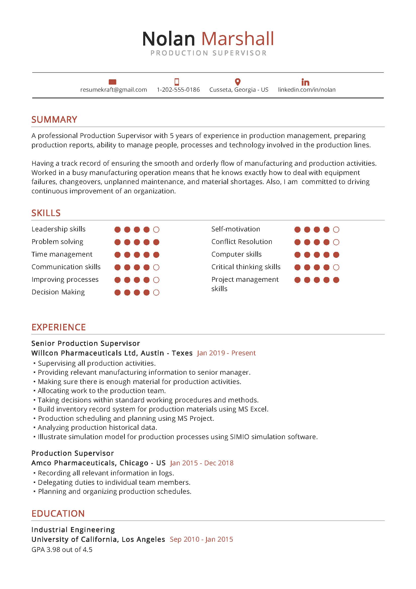 production supervisor resume example in resumekraft manufacturing examples sample best Resume Manufacturing Resume Examples