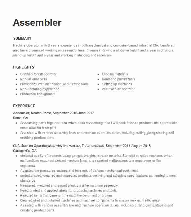 professional assembler resume examples production livecareer for assembly worker personal Resume Resume Examples For Assembly Worker