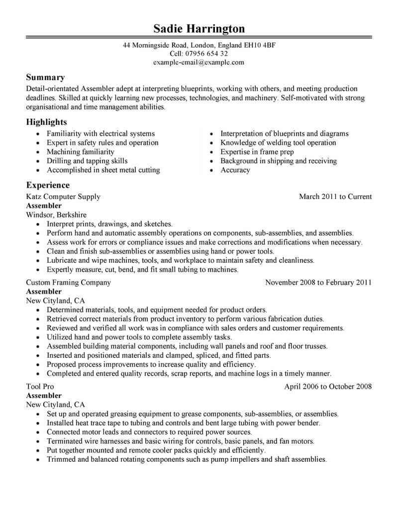 professional assembler resume examples production livecareer for assembly worker Resume Resume Examples For Assembly Worker