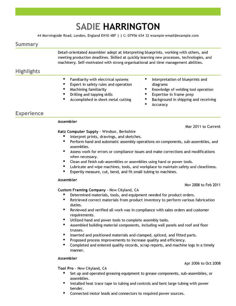 professional assembler resume examples production livecareer self motivated sample Resume Self Motivated Resume Sample