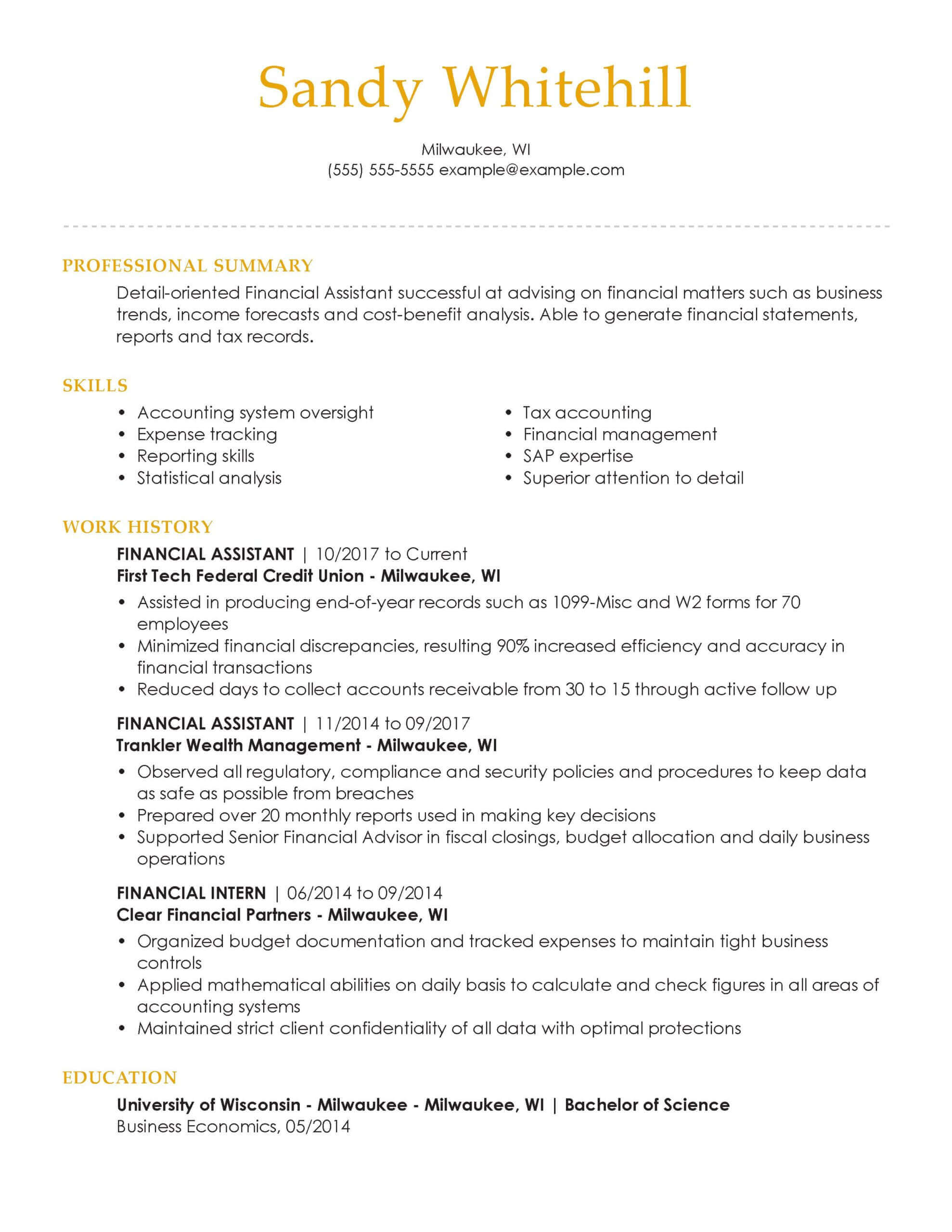 professional banking resume examples livecareer format for bank job financial assistant Resume Resume Format For Bank Job