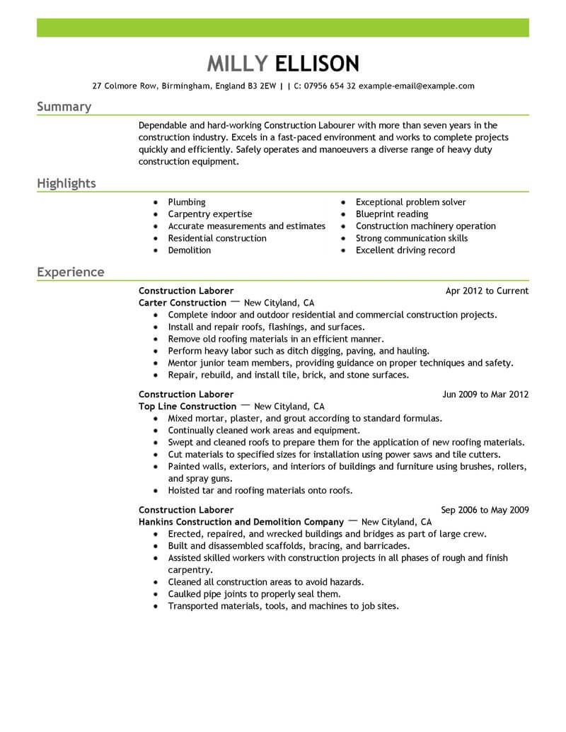 professional construction worker resume examples livecareer labor emphasis for summary Resume Construction Resume Examples