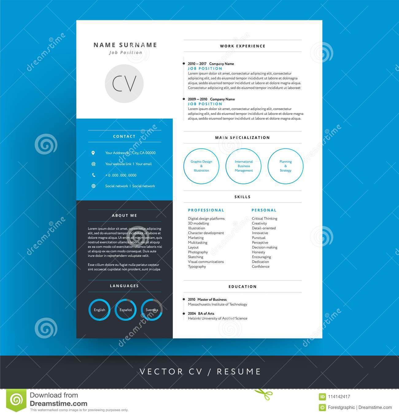professional cv resume template blue background color minimalist vector stock Resume Resume Picture Background Color