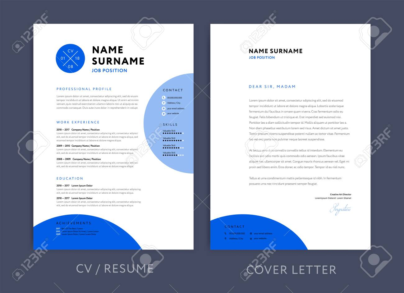 professional cv resume template blue design and letterhead royalty free vectors stock Resume Professional Resume Letterhead