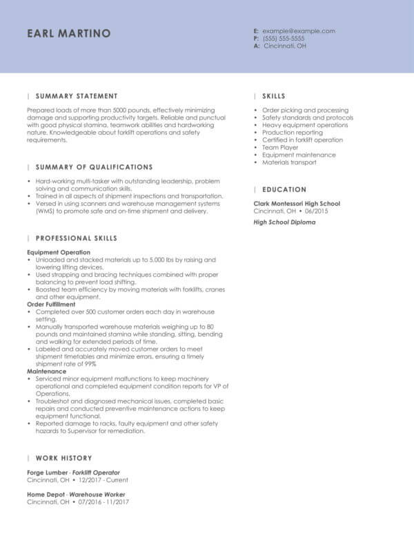 professional driving resume examples livecareer ambulette driver essence func forklift Resume Ambulette Driver Resume