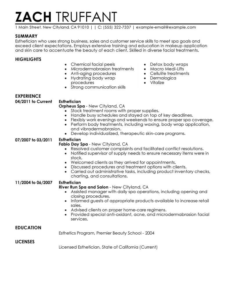 professional esthetician resume examples cosmetology livecareer medical salon spa fitness Resume Medical Esthetician Resume