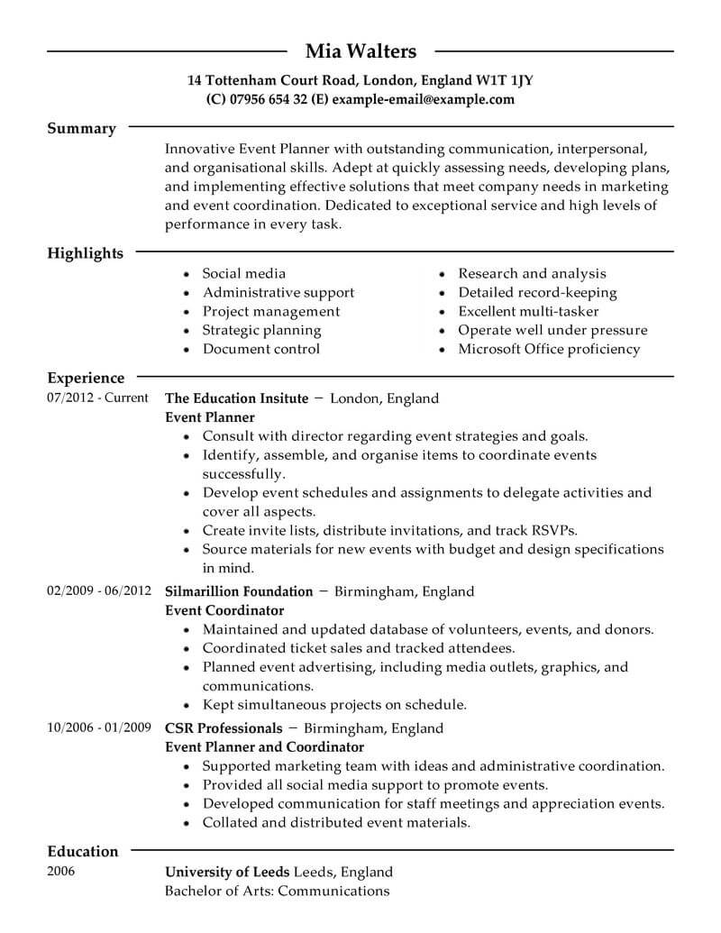 professional event planner resume examples livecareer management for freshers marketing Resume Event Management Resume For Freshers