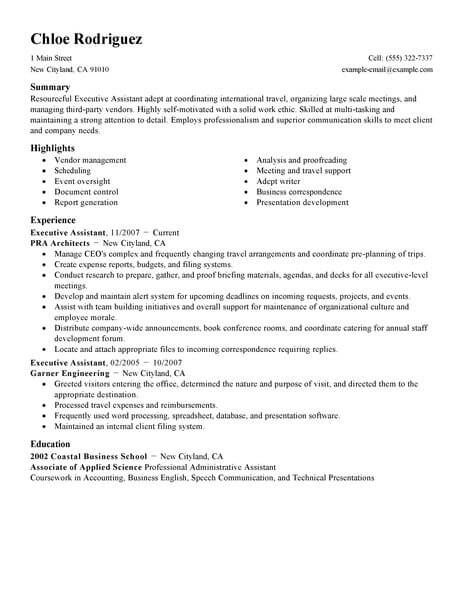 professional executive assistant resume examples administrative livecareer personal Resume Personal Assistant Example Resume