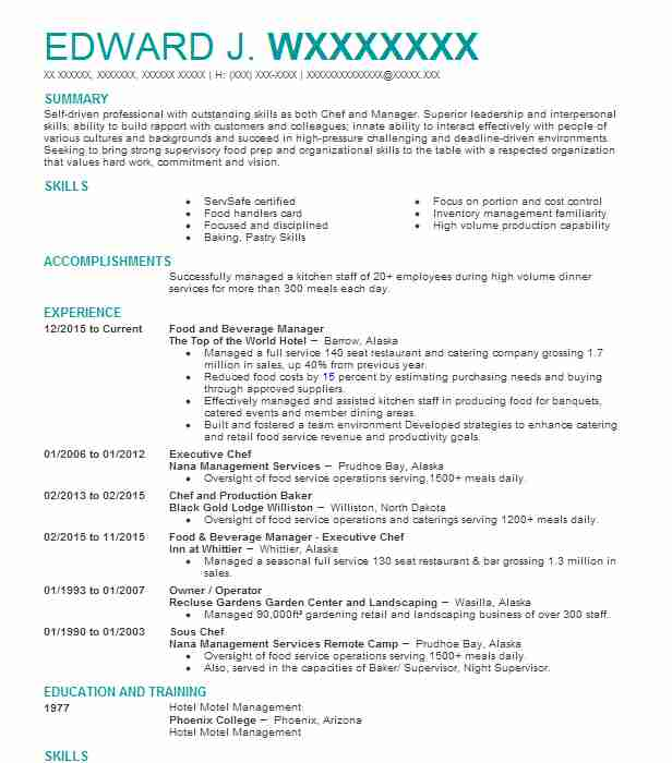 professional food and beverage manager resume examples service livecareer example of Resume Beverage Manager Resume