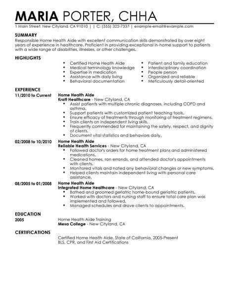 professional home health aide resume examples healthcare support livecareer care example Resume Home Care Resume Examples