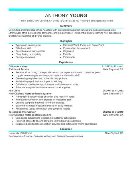 professional office assistant resume examples administrative livecareer duties Resume Office Assistant Duties Resume