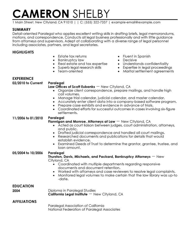 professional paralegal resume examples law livecareer template legal contemporary office Resume Paralegal Resume Template