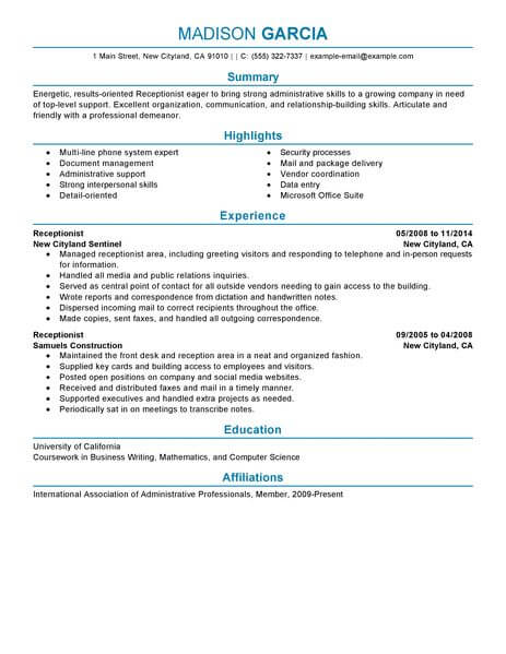 professional receptionist resume examples administrative livecareer summary sample for Resume Professional Summary Resume Sample For Receptionist