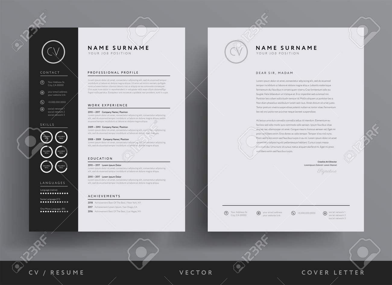 professional resume and letterhead template design royalty free vectors stock Resume Professional Resume Letterhead