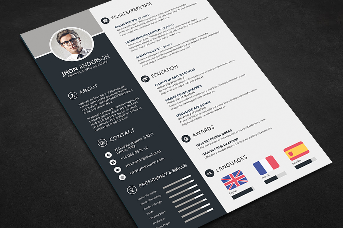 professional resume cv template free files graphic web design resources graphicstoll Resume Photoshop Resume Template