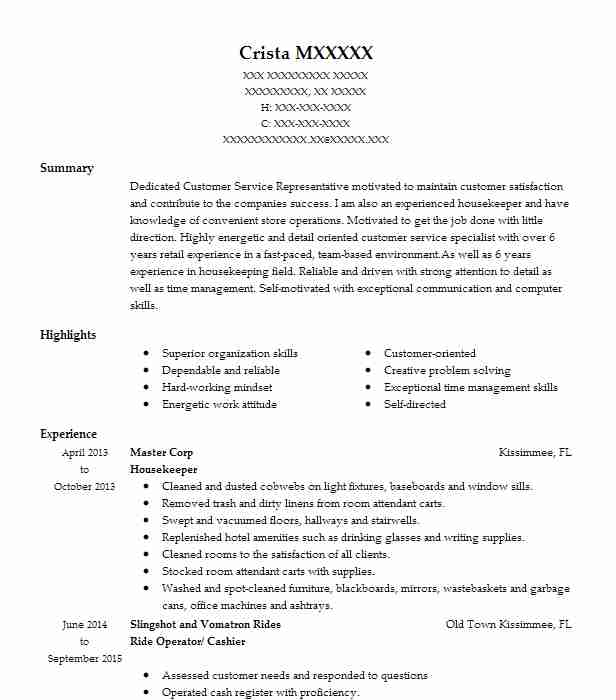 professional resume examples livecareer for housekeeping job bottle service waitress Resume Resume For A Housekeeping Job