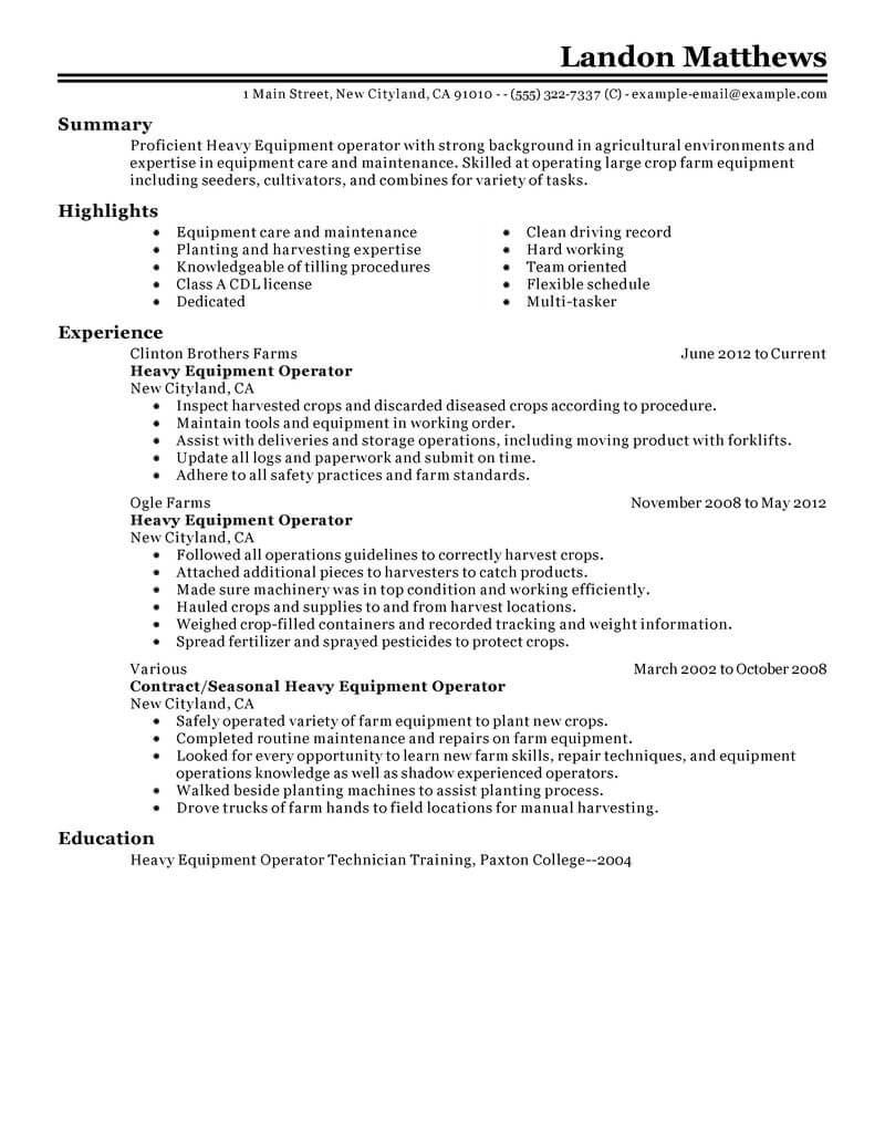 professional resume examples livecareer heavy equipment operator agriculture environment Resume Heavy Equipment Operator Resume