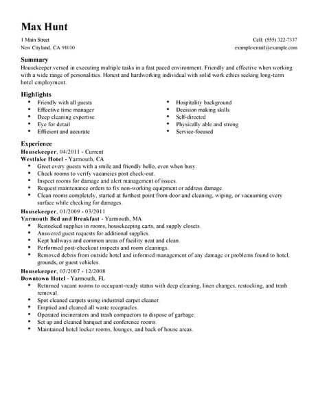 professional resume examples livecareer private housekeeper hotel hospitality example Resume Private Housekeeper Resume
