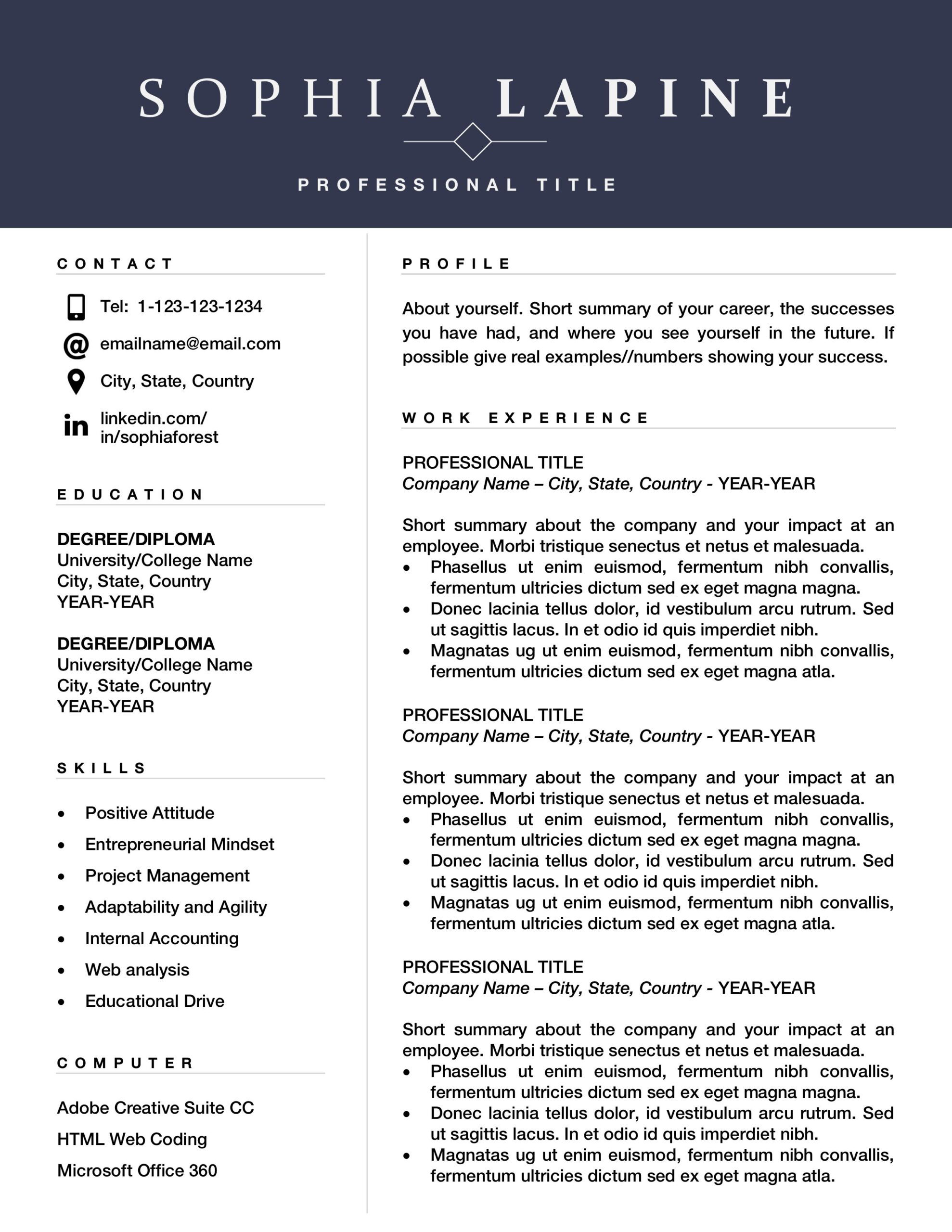 professional resume template design editable for office admin or marketing executive with Resume Free Cascade Resume Template