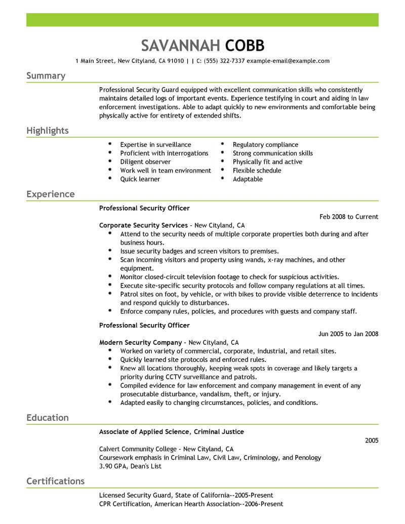 professional security officer resume examples safety livecareer sample for recent college Resume Sample Resume For Recent College Graduate Criminal Justice