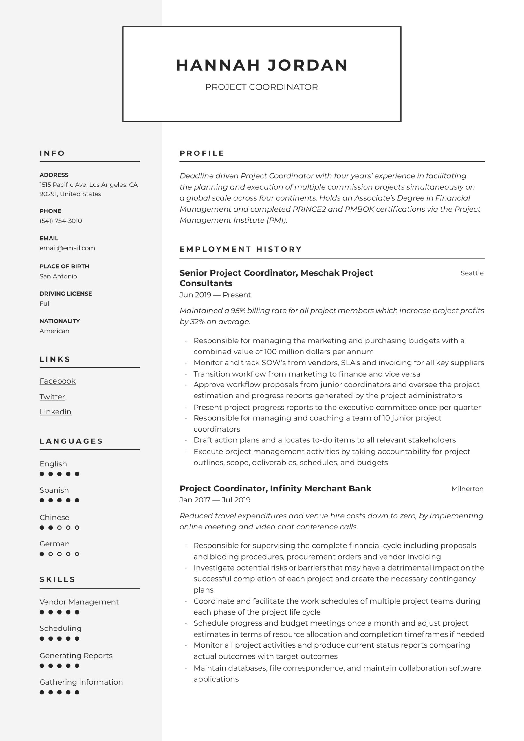 project coordinator resume writing guide examples for data quality manager manufacturing Resume Resume Examples For Project Coordinator