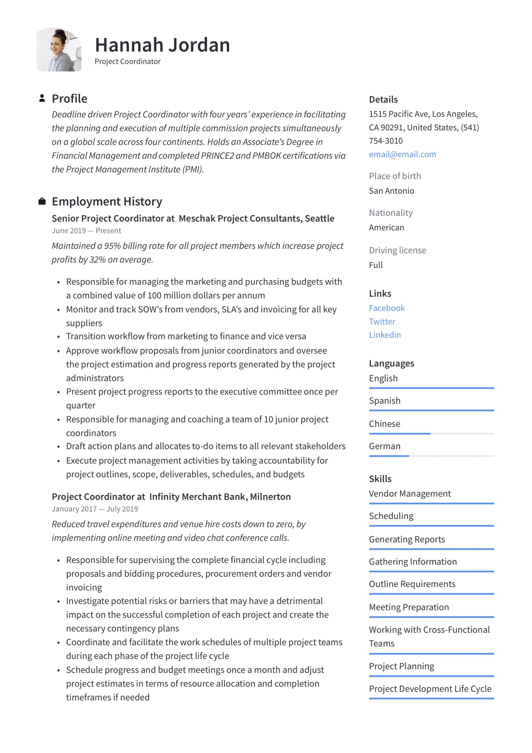 project coordinator resume writing guide examples indeed objective for culinary students Resume Project Coordinator Resume Indeed