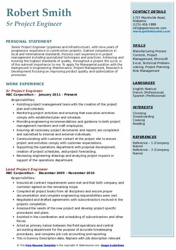 project engineer resume samples qwikresume example pdf cover letter for nanny best format Resume Project Engineer Resume Example
