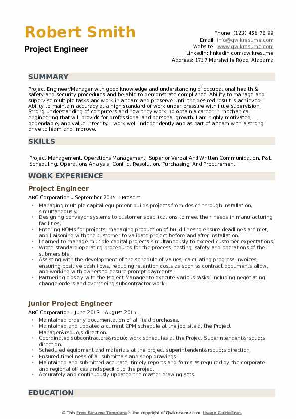project engineer resume samples qwikresume example pdf strategic planning server Resume Project Engineer Resume Example