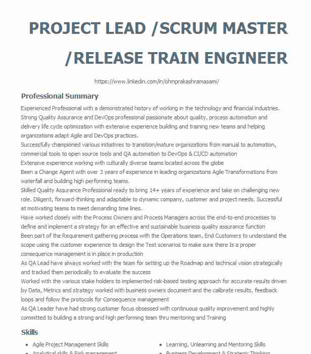 project lead scrum master release train engineer resume example mphasis stow linkedin Resume Scrum Master Resume Linkedin