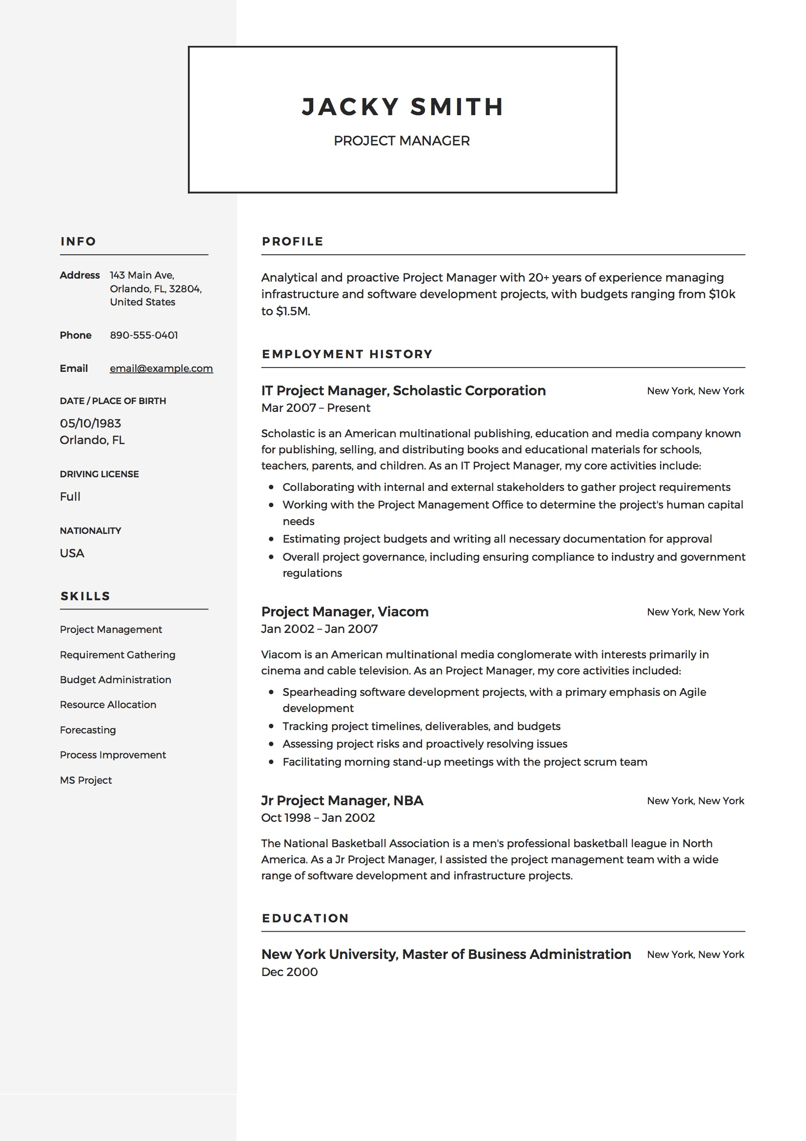 project manager resume examples full guide pdf word example business operations associate Resume Project Manager Resume Examples 2020