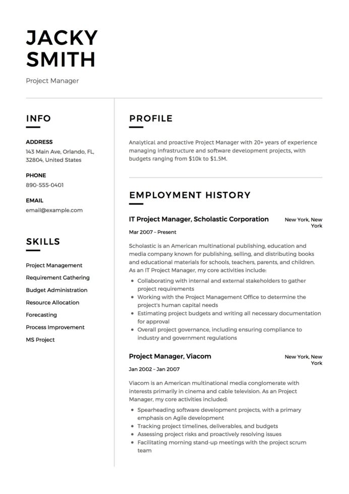 project manager resume examples full guide pdf word mail body for sending business Resume Project Manager Resume Examples 2020