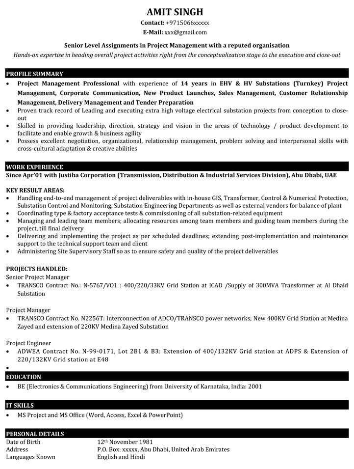 project manager resume samples sample for it naukri format experienced management ps4 Resume Resume Format For Experienced Project Manager