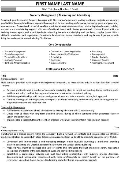 property management resume sample template entry level marketing and advertising free Resume Entry Level Property Management Resume