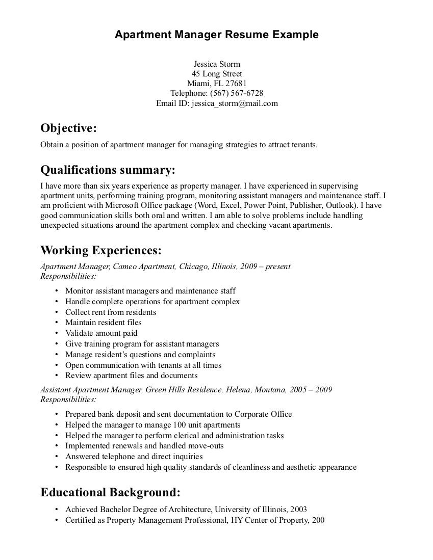 property manager resume sample resumes examples cover letter for apartment example dates Resume Apartment Property Manager Resume Example
