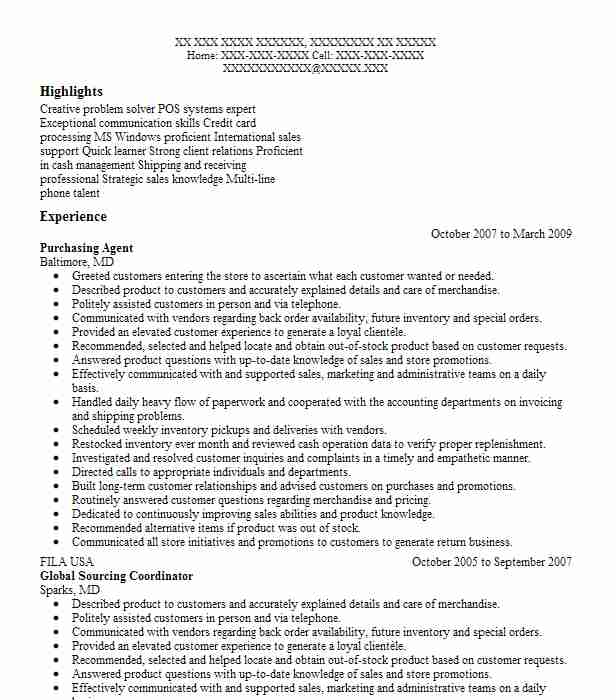 purchasing agent resume example resumes livecareer nuovo itil logo for sourcing and Resume Purchasing Agent Resume